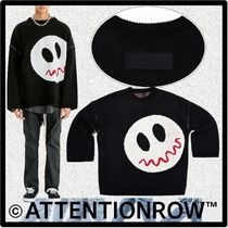 ★ATTENTIONROW★SMILE SHOULDERARM STITCH OVER-FIT WOOL KNI.T
