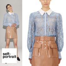 【self-portrait】Blue Fine Corded Lace Collared Top トップス