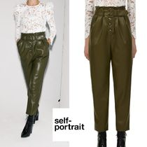 【self-portrait】 Olive Green Faux Leather Trousers パンツ