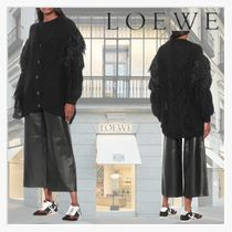 【LOEWE】Feather-trimmed mohair-blend cardigan