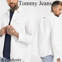 【Tommy Jeans】フラッグロゴツイルシャツ ホワイト