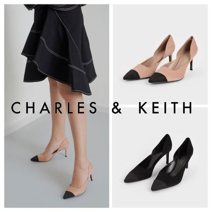 Charles&Keith パンプス Charles&Keith★Textured D'Orsay Stiletto Pumps/size22-26cm