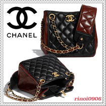 2021AW*CHANEL*バケット バッグ チェーン CC カーフ 黒 茶