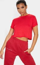 【PrettyLittleThing】RED BASIC ROLL SLEEVE CROP T SHIRT/ジム