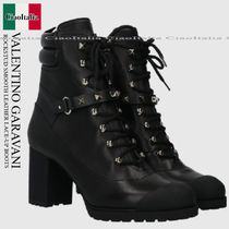 VALENTINO GARAVANI ROCKSTUD SMOOTH LEATHER LACE-UP BOOTS