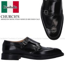 CHURCH'S MONKTON MONK STRAP SHOES IN BRUSHED CALF