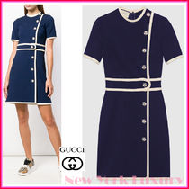 GUCCI★素敵!BLUE VISCOSE DRESS W/WHITE TIGER BUTTONS