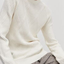 "RESERVED(リザーブド) ニット・セーター ""RESERVED MEN"" RIBBED ARAN KNIT CREAM"