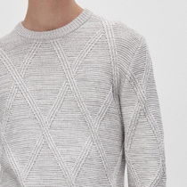 "RESERVED(リザーブド) ニット・セーター ""RESERVED MEN"" RIBBED ARAN KNIT GRAY"