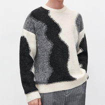 "RESERVED(リザーブド) ニット・セーター ""RESERVED MEN"" JACQUARD KNIT BLACK/GRAY/WHITE"