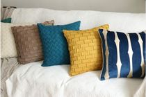 【RAINBOW HOUSE】Block Suede Vaseed cushion Cover