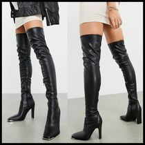 ASOS DESIGN Kieran thigh high boots with metal trim