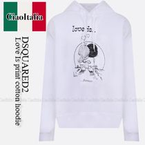 DSQUARED2  Love Is print cotton hoodie