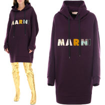 M670 WOOL HOODIE DRESS WITH LOGO PATCH