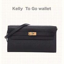 *HERMES*Kelly wallet To Go /ブラック x GHW
