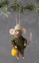 Mouse in a Green Sweater Felt Ornament