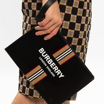 Burberry★20-21AW ロゴ&ストライププリント ジップポーチ