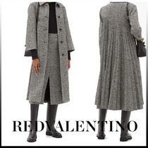 【RED VALENTINO】Chevron long coatプリーツバックコート