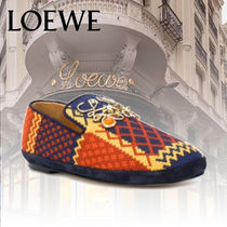 【LOEWE】ANAGRAM-DETAILED EMBROIDERED FABRIC SLIPPERS