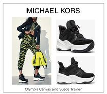 【MICHAEL KORS】Olympia Canvas and Suede Trainer☆