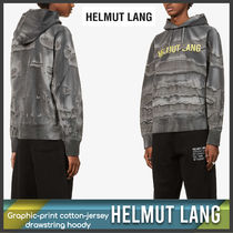 [Helmut Lang] Graphic-print cotton-jersey hoody 送料関税込