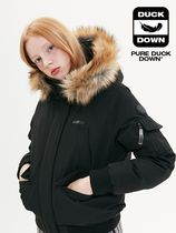 [ KIRSH ] FUR HOOD DUCK DOWN JUMPER JA [BLACK]