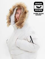 [ KIRSH ] FUR HOOD DUCK DOWN JUMPER JA [IVORY]