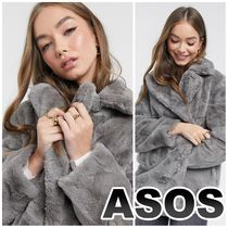 ASOS New Lookフェイクファーコートgrey 【送料・関税込み】
