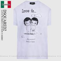 DSQUARED2 LOVE IS PRINT COTTON T-SHIRT