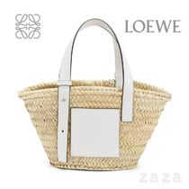 LOEWE★ロエベ Small Basket bag in palm leaf and calfskin