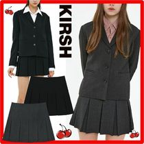 ☆韓国の人気☆【KIRSH】☆HERRINGBONE PLEATS SKIRT J.A☆2色☆