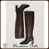 MassimoDutti♪BROWN LEATHER BOOTS WITH WOODEN HEELS