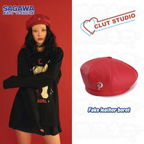 ★CLUT STUDIO★fake leather beret - RED
