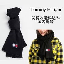 TOMMY JEANS トミージーンズ◆フリンジ ロゴ マフラー スカーフ