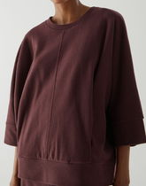 """""""COS"""" OVERSIZED COTTON JERSEY TOP BURGUNDY"""