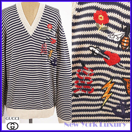 GUCCI★素敵!Cotton Stripe Patches V Neck KNIT SWEATER