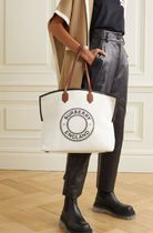 ★BURBERRY★LARGE LEATHER-TRIMMED PRINTED CANVAS TOTE