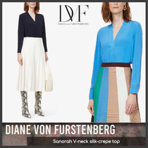 [Diane Von Furstenberg] Sanorah V-neck silk top 送料関税込