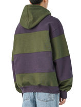 [thisisneverthat] Striped Hooded Sweatshirt Olive/Purple