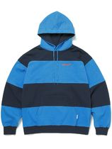 [thisisneverthat] Striped Hooded Sweatshirt Blue/Navy