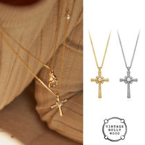 VINTAGE HOLLYWOOD★2020 Delicated Texture Cross Necklace