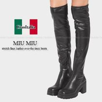 MIU MIU stretch faux leather over-the-knee boots