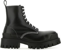 BALENCIAGA◆BLACK LEATHER STRIKE ANKLE BOOTS