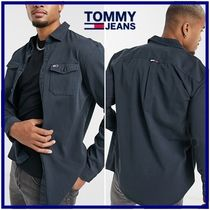 ☆Tommy Jeans☆フラッグロゴツイルシャツ navy 関税・送料込