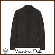 MassimoDutti♪OVERSHIRT WITH POCKETS AND LEATHER TRIMS
