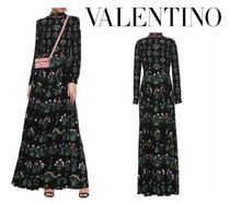 VALENTINO☆Pleated floral-print silk crepe de chine gown