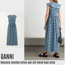 {GANNI} Smocked checked silk-blend maxi dress 送料関税込