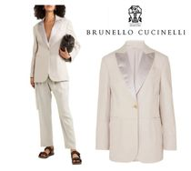 関税・送料込BRUNELLO CUCINELLI☆Satin-trimmed leather blazer