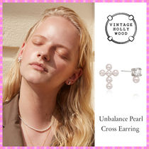 【VINTAGE HOLLYWOOD】Unbalance Pearl Cross Earring〜ピアス