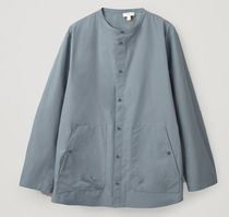 """COS MEN"" COTTON OVERSIZED GRANDAD COLLAR SHIRT STEELBLUE"